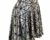 Argent sur carreau fissuré noir hologramme holographique brillant scintillant brillant futuriste Hi-Lo jupe - 154900