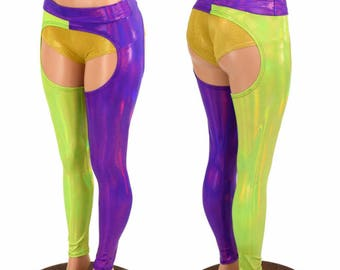 Two Tone Chaps in Wearer's RIGHT Leg Lime Holographic & Wearer's LEFT Leg Grape Holographic w/Grape Holographic Mid Rise Waistband - 155074