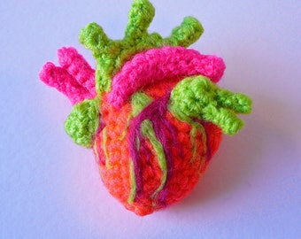 Crochet Anatomical Heart Brooch- Neon
