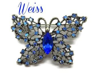 Rhinestone Butterfly Brooch - Vintage Weiss Blue Rhinestone Brooch, Gift for Her, Gift Box