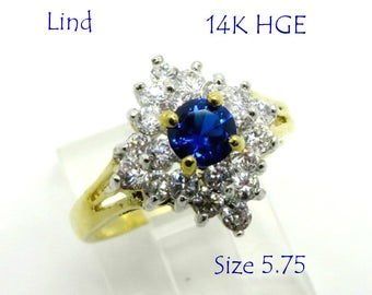 Lind Blue Quartz Cocktail Ring, Vintage CZ & Quartz Gold Plated Ring, 14K HGE Ring, Engagement Ring, Size 5.75