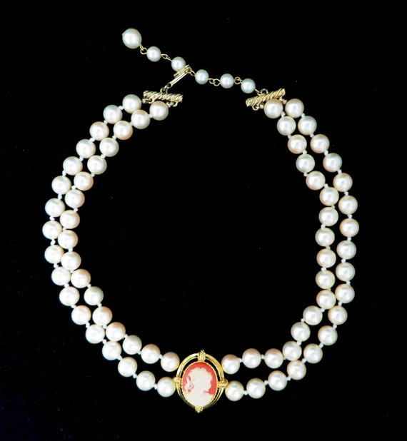 Erwin Pearl Necklace, Vintage P.E.P. Double Strand Faux Pearl Cameo Choker, Bridal Jewelry