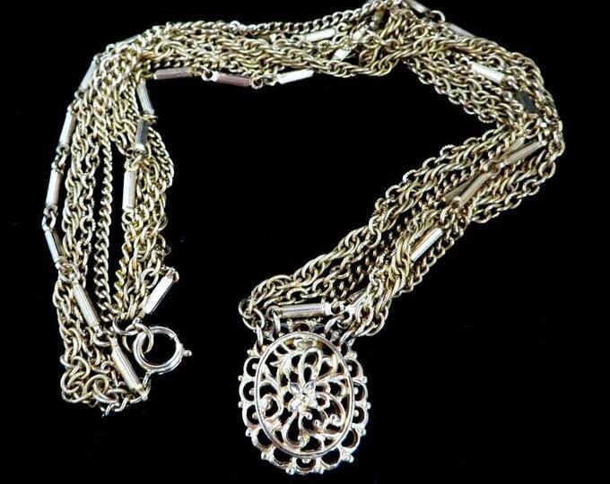 Kramer Pendant Necklace, Goldtone Multistrand Necklace, Chain Link, Vintage Estate Signed Kramer