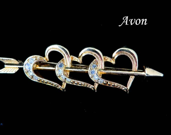 Avon Hearts Brooch, Vintage Triple Heart Arrow Rhinestone Studded Brooch Signed Avon Jewelry Gift for Her