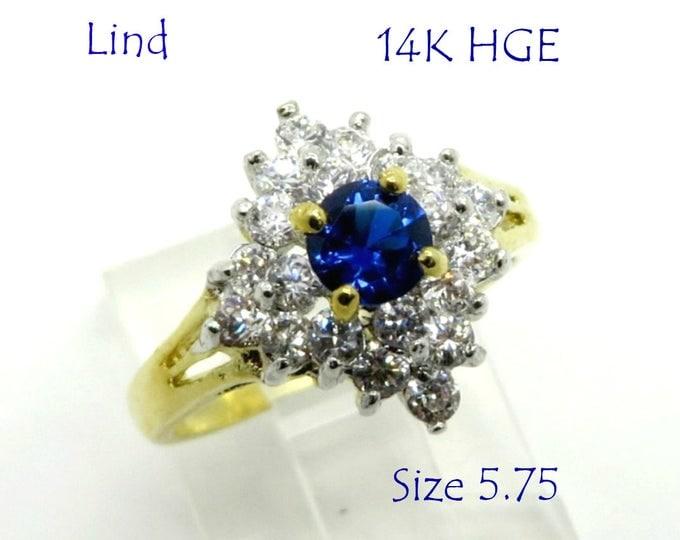 Lind Blue Quartz Cocktail Ring, Vintage CZ & Quartz Gold Plated Ring, 14K HGE Ring, Engagement Ring, Size 5.75