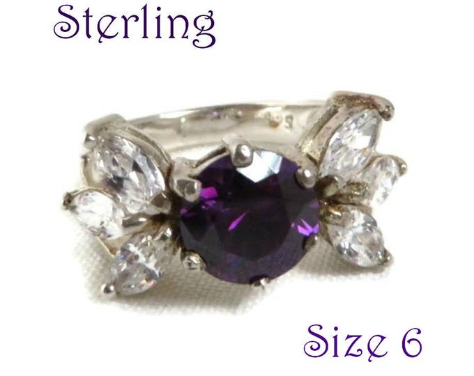 Sterling Silver Butterfly Ring - Vintage Amethyst, CZ Cocktail Ring, February Birthstone, Gift idea, Gift Boxed, Size 6