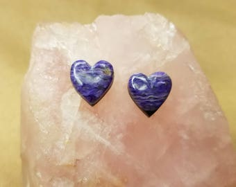 Purple Charoite Heart Cabochon Pair/ backed