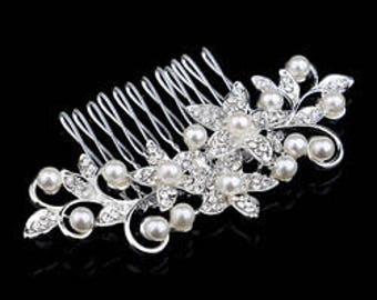 Bridal Hair Comb. Hair Comb. Wedding Hair Comb with Pearls. Floral Hair Comb with diamonds and Pearls!!! Vintage Hair Comb.