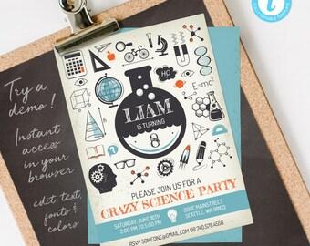 Science Invitation, Science Birthday Invitation, Science Party Invitation, editable INSTANT DOWNLOAD printable at home