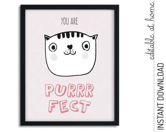 Purrrfect Cat Nursery Wall Art INSTANT DOWNLOAD