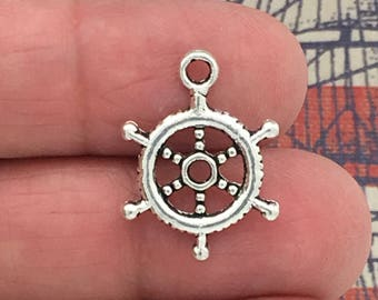 16 Silver Ships Wheel Charm SP0079