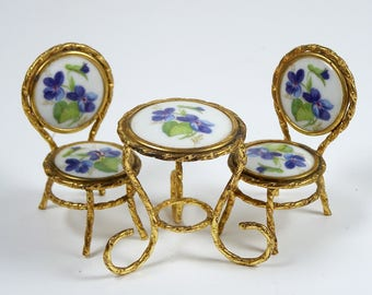 Vintage Limoges Miniature Porcelain Table W/ 2 Chairs Doll Or Dollhouse