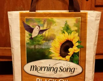 Morning Song Sunflower Seed Tote Bag grocery bag repurposed