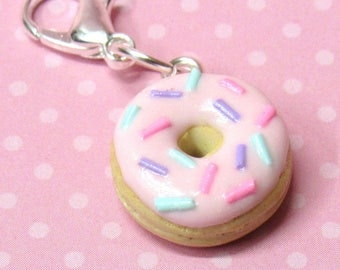 Pink Donut Charm, Polymer Clay Charm, Stitch Marker, Food Charm, Progress Keeper, Gift for Knitter, Kawaii Clay Charm, Planner Charm