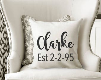 Custom Name and Date Decorative Pillow Personalised Cushion