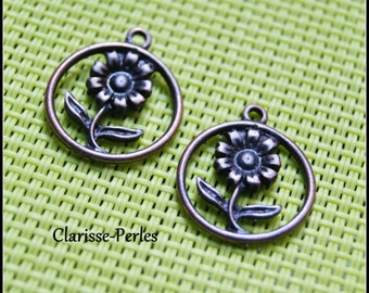 4 copper 17x21x2mm hole 2mm metal flower charms
