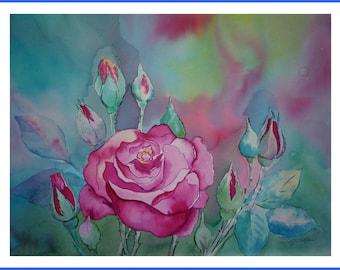 Watercolor - rose garden