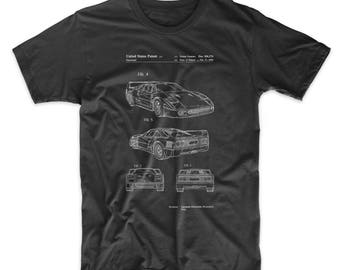 F40 Patent T Shirt, Car Shirt, Automotive Shirt, Exotic Sports Car, Mechanic Gift, Teen Boy T Shirt, PP0108