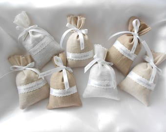 Lavender Sachet Bags / SACHET of lavender linen: custom order for wedding, reception, christening, gift guests