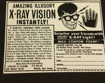 X RAY VISION comic book ad patch vintage horror weird strange Free Shipping