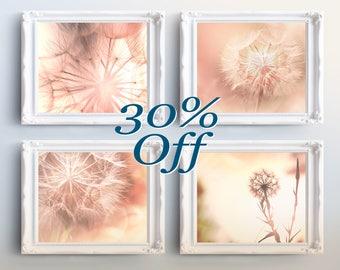 Printable Art Set - Printable Nature Photography, Pink Dandelion, Flower Photography Printables -nursery print, nursery printables art set