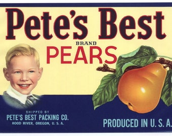 Vintage Pete's Best Pear Label