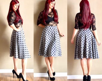 Grey POLKADOT Swing Skirt, Mod Black and Gray Polk Dot Pin Up 50s 60s Style Circle Skirt by Hardley Dangerous Couture