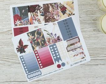 Dark Flowers Erin Condren Compatible Planner Kit; Weekly Kit; Planner Stickers; Bullet Journal; Mini Kit; Valentines Stickers; Feb Kit