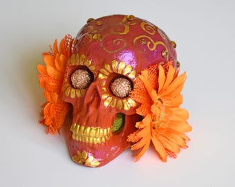 Sculptures, Art and Collectables, Day Of The Dead, Sugar Skulls, Hand Painted, Decorative Skulls, Bright Orange, Figurines, Metallic Pinks