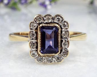 Vintage / Art Deco 9ct Gold Diamond & Blue Sapphire Cluster Ring / Size Q 1/2