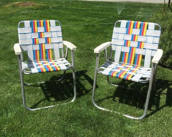 Pair of webbed lawn chairs