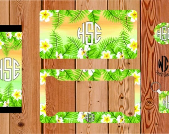 Tropical floral desgin car decor, Personalized Classy license plate, Floral, monogrammed, Gifts for new car driver, key chain,  s025