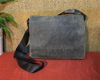 Années 1990 délavé noir cuir Sac Messenger sac scolaire sac petite taille