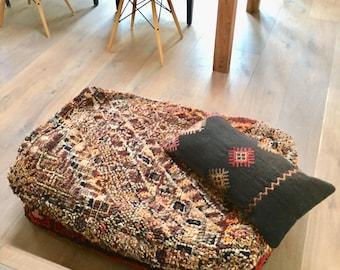 XL Moroccan Kilim Boujaad Pouf Big Floor Pillow Handmade Moroccan Poof 100%  Wool Kilim 90x60x20