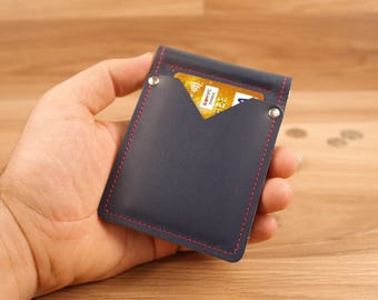 Money Clip Wallet, Leather Money Clip Wallet, Leather wallet, Men's Wallet, minimalist wallet blue matt leather