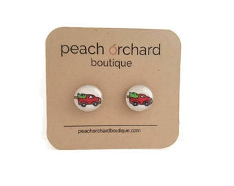 Hand Drawn Vintage Christmas Red Truck earrings - Christmas Jewelry- Christmas gift- Stocking Stuffers - Christmas earrings