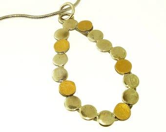 Tear Drop Dots Necklace, Sterling Silver, 18K Gold