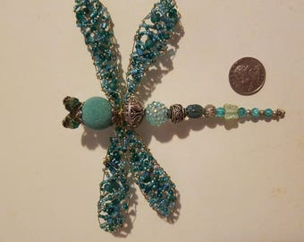 Bead and Wire Dragonfly Pin