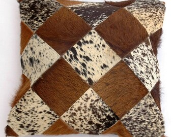 Natural Cowhide Luxurious Patchwork Hairon Cushion/pillow Cover (15''x 15'')a140