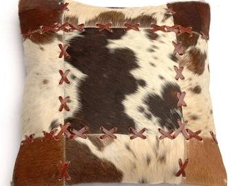 Natural Cowhide Luxurious Patchwork Hairon Cushion/pillow Cover (15''x 15'')a178