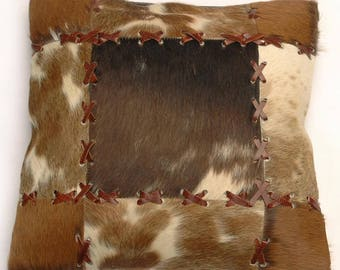 Natural Cowhide Luxurious Patchwork Hairon Cushion/pillow Cover (15''x 15'')a196