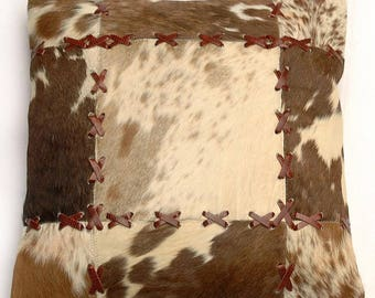 Natural Cowhide Luxurious Patchwork Hairon Cushion/pillow Cover (15''x 15'')a201