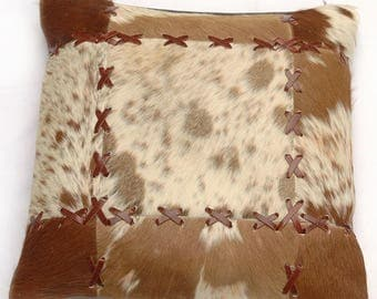 Natural Cowhide Luxurious Patchwork Hairon Cushion/pillow Cover (15''x 15'')a212