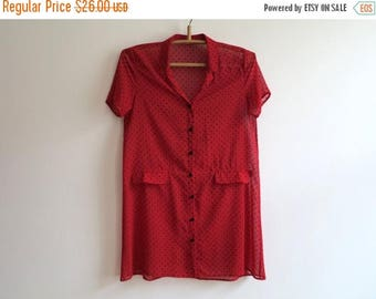 ON SALE Hot Red Blouse Red Black Polka Dot Blouse Sheer Chiffon A Line Blouse Transparent Womens Short Sleeves Blouse Medium to Large Size