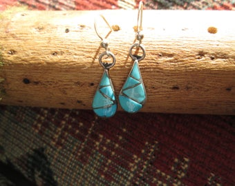 Turquoise and Sterling Inlay Dangle Earrings