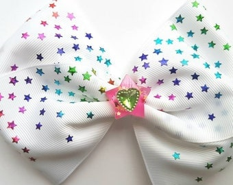 "Large 7"" hair bow white 3"" grosgrain with sparkly stars"