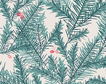 Art Gallery Christmas Fabric  Little Town Collection Christmas tree fabric Evergreen tree fabric