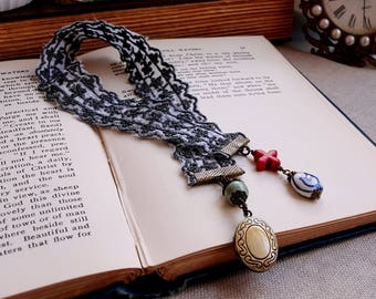Cotton ribbon bookmark Cottage bookmork Beaded charms bookmark Locket bookmark Blue cotton ribbon