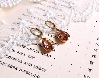 Sparkling pear shape teardrop Peach color crystal drop earrings Leverback antique gold earwires Vintage inspired Gift earrings