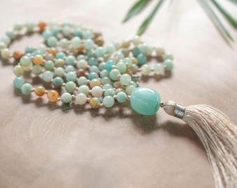 Amazonite Mala Necklace - Beige Tassel - Long Tassel Mala - Bohemian Blue Vibes 108 Mala Beads - Self Discovery Intention Mala